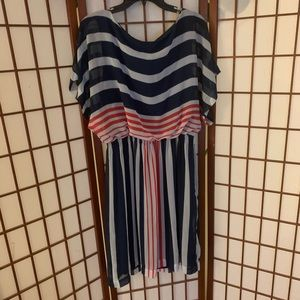 Red white and blue striped dress
